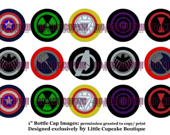 "Avengers Inspired Logos 4x6 Sheet of 1"" Inch Circles~ Quality Bottle Cap Digital Images 300 dpi~ INSTANT DOWNLOAD"