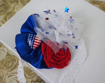 Red,White,and Blue Patriotic lace headband