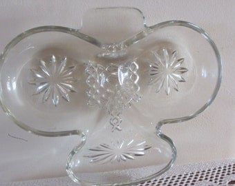 Vintage Cut glass Clover Leaf Shape Sweetmeat Candy Dish    SALE ITEM