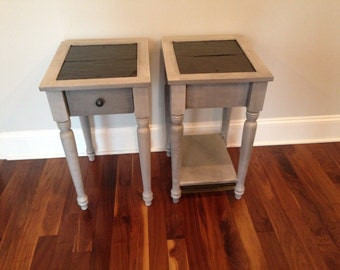 Slate top End tables/ night stands Painted Gray