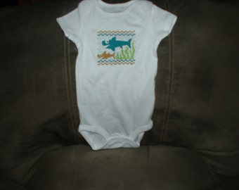 White Embroidered One Piece 6-12 Months