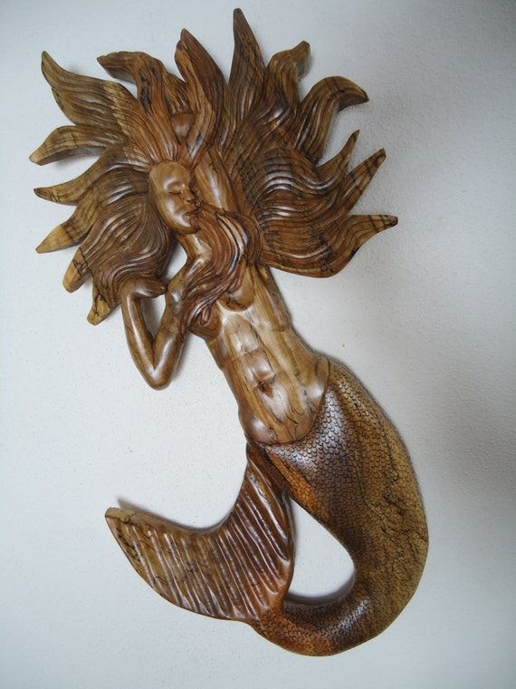 Large hand carved spalted maple wood mermaid relief wall