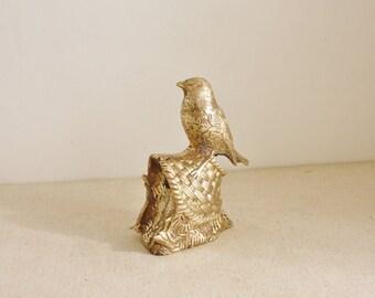 Vintage Brass Bird on Basket