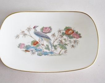 Vintage  White Bone China Coaster Bowl by Wedgewood Kutani Crane Pattern