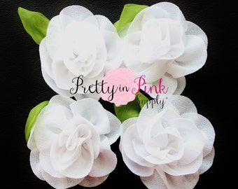 White Chiffon Rose with Leaf Flower...You Choose Quantity...Chiffon Rose Flower...Rolled Rosettes...Mini Rolled Rosettes...Shabby Rose