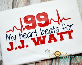 My Heart Beats for JJ WATT - red and navy