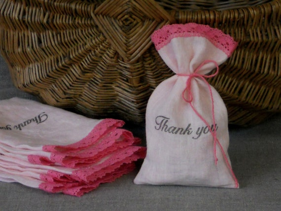 Baby girl shower favor bags light pink linen and lace personalized Thank you bags custom made set of 10