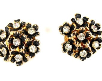 Sandor Black Enamel Crystal Rhinestone Earrings Flower Motif