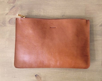 Light Brown Small Clutch, Leather purse