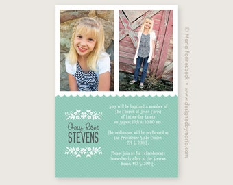 LDS Baptism Invitation Girl Announcement with Space for 2 Photos