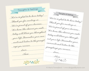 LDS Baptism Testimony Cards: Record Your Guest's Thoughts & Feelings for a Great Keepsake!