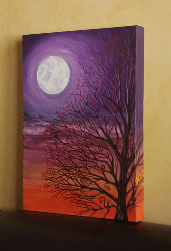 Items similar to original painting purple fairy tree for Fairy painting easy