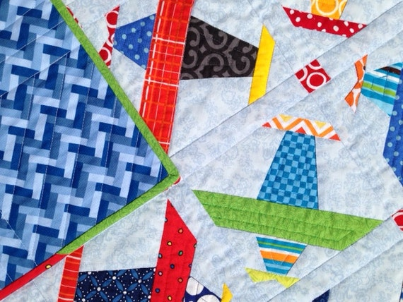 Colorful Paper Pieced Airplane Quilt