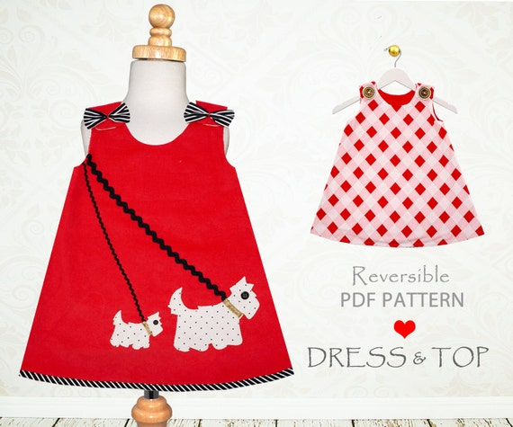Girls dress pattern PDF, Childrens sewing pattern, girls sewing pattern, reversible dress, beginner sewing pattern, SCOTTIE