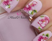 Nail Wraps Nail Art Nail Decals Water Tranfers Red Rose Flowers Y604 Salon Quality