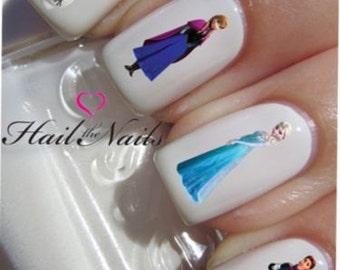 Frozen Princess Nail Art Water Transfer Decal YD823 Olaf Anna Elsa Hans