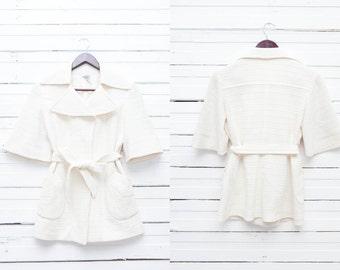 1960's True Vintage Women's Three Quarter Ivory Jacket / Size S Small / Summer Wrap Jacket