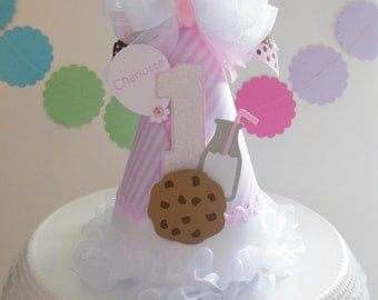 Lil' Cookies and Milk Party - Pink, White, Brown - Birthday Party Hat - Personalized