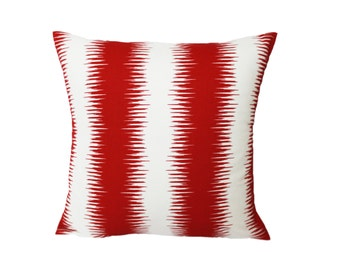 Red Ikat Pillow Cover - Any Size - Decorative Throw Pillow Cover - Invisible Zipper Closure