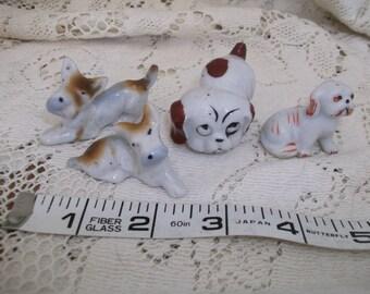 4 Mini Ceramic Dog Figurines Japan Midcentury
