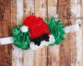 Santa Baby Headband- Holiday Headband- Christmas Headband- Baby Girl Headband- Santa Hat- Baby Headband - Newborn Headband - Infant Headband