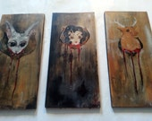 Set of Three Original Acrylic Paintings on Board - Taxidermy for the Home