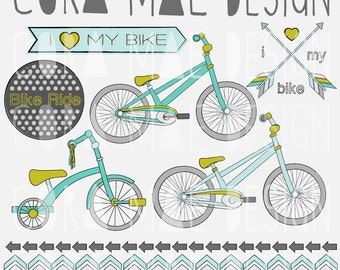 Bike clipart, tags & banners. 10 PNG files. Transparent background. 300 dpi. Instant download.