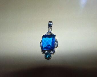 Beautiful Pendant With Glass Stones Hallmarked 925