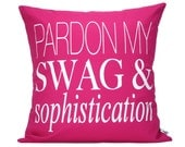 "Pardon My S&S  Pillow Cover // 16""x16"" Silk Screen Pink Pillow Cover"