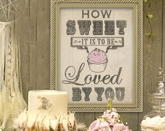 Wedding Cupcake Sign in Burlap- Prefect for the Dessert Table