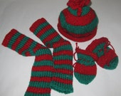 "Baby Legwarmers - Nannie Cool ""Snuglegs"" Red (with flecks) and Green stipes with matching  hat and mittens"