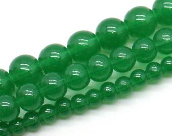 Dark Jade Jadite Transparent Glass Bead Strands - Select Size: 4mm, 6mm, 8mm