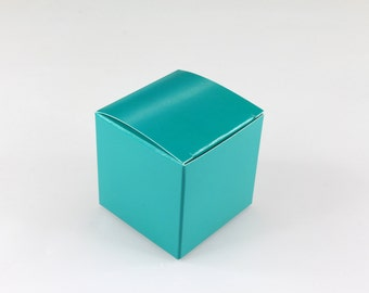 50x Turquoise Wedding Favor Cube Boxes-Bridal Shower-Baby Shower-Party Favor-Candy Gift Box 2x2x2