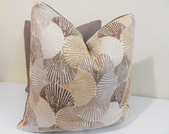 Cornsilk Outdoor pillow- Sunbrella fabric - Seashell indoor Outdoor Cushion- Sunbrella Pillow -20 x 20 inch