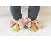 Gold and Pink Moccasins for babies and toddlers Baby Moccs Bows