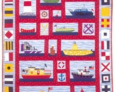 Nautical Quilt, Custom Boy Quilt, Baby, Crib, Toddler, Twin, Full, Queen Ocean Beach Sailboat, Modern, Crib Bedding, Baby Bedding, Children