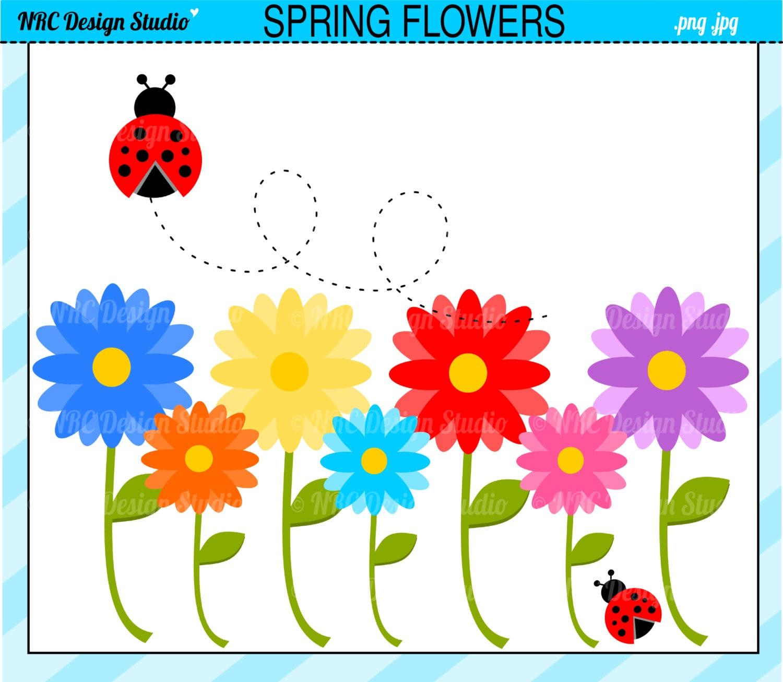 Garden Clip Art Spring Flowers Clip Art by NRCDesignStudio