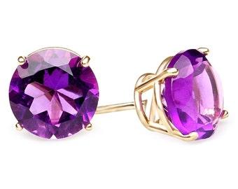 2 3/4 CTW Round Cut Purple Amethyst Stud Earrings in 10K Yellow Gold