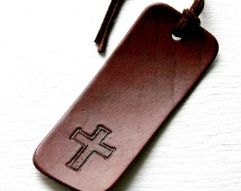 Bookmark. Bible leather bookmark - Cross or Praying hands with tassel - 3rd Anniversary Gift