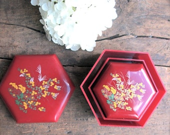 Vintage Nesting Boxes Trinket box Floral Red Yellow Jewelry organizer Gift For Her Under 10  storage box Asian Decor Boho