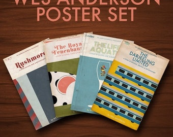 Wes Anderson Movie Poster  Set- 11x17""