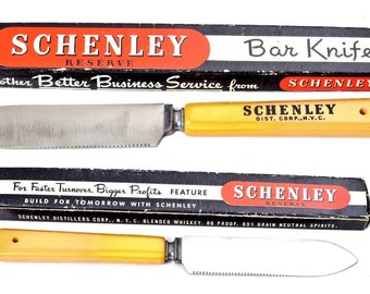 Vintage Schenley Whiskey Advertising Bar Knife Bakelite Handle MIB.