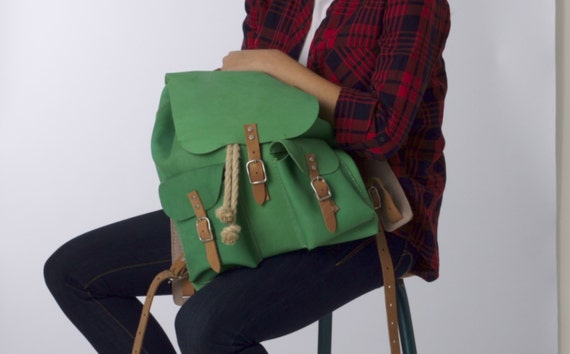 Items similar to Leather backpack DIY package with drawstring, 2 ...