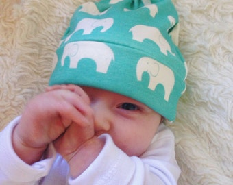 Organic Baby Elephant Hat, Turquoise, Baby, Blue, Infant, Newborn, Toddler, Beanie, Boy, Girl Neutral, Gift