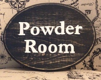 Adorable Bathroom Sign (Black) Powder Room (5x7)