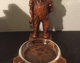 1930s Vintage Farmer Figurine Ashtray