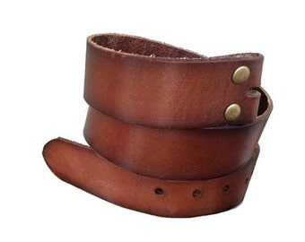 Vintage Style Brown Leather Snap Belt Strap Size M / Men's 34 - Gift Idea - For Buckles
