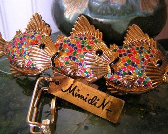 Belt buckle, womens, vintage, Mimi di N, fish belt buckle, gold belt buckle, colorful, vintage, NOS, rainbow fish