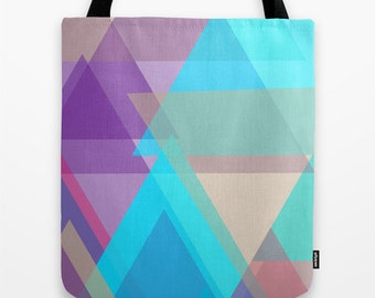 Canvas Tote Bag 16x16, Geometric Tote, Canvas Tote Bag, Triangle Abstract Bag