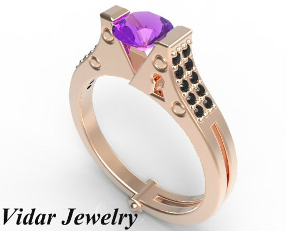handcuff engagement ring unique amethyst and black